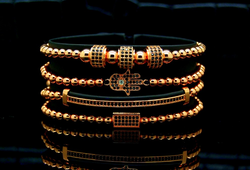 Luxury Set 4 Brooks Rose Gold 14K Bracelets