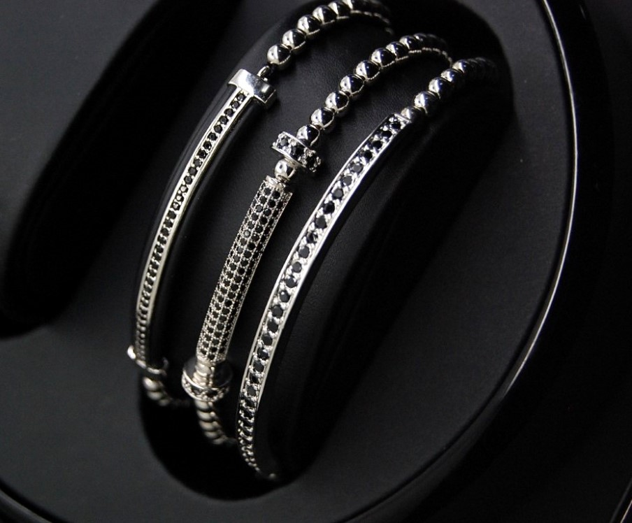 Luxury Set 3 Liniar Silver Brooks Bracelets