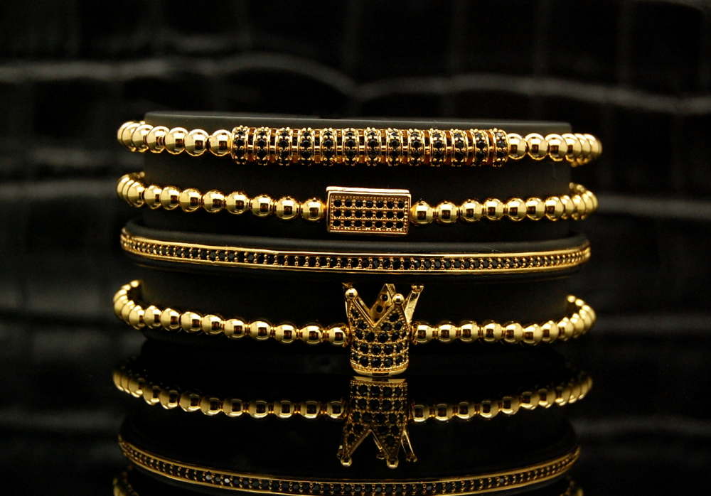 Luxury Set 4 Gold 14K Zirconium Men Bracelets