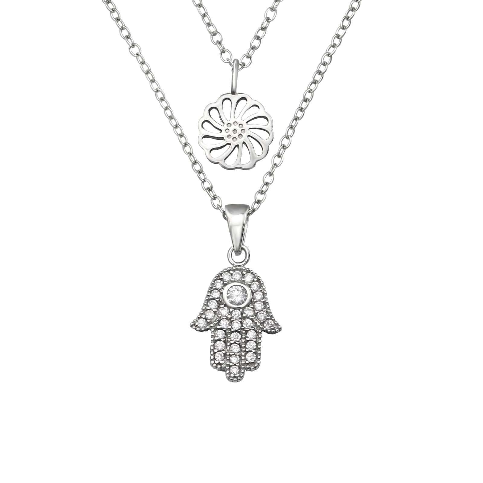 Colier Hamsa si Floare de Lotus din Argint 925