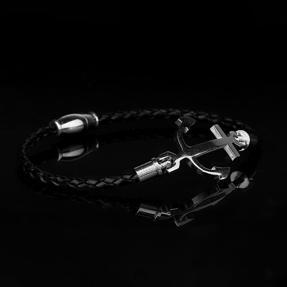 Silver Anchor Men Bracelet