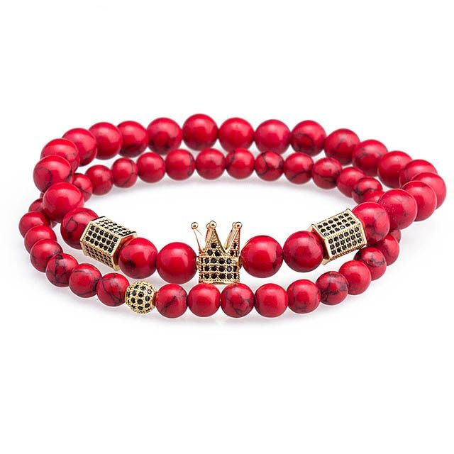 Brooks Gold Crown Set Red Natural Stones