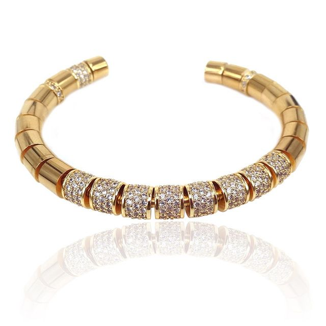 Brooks Luxury Gold 18K Plated Zircon Bangle