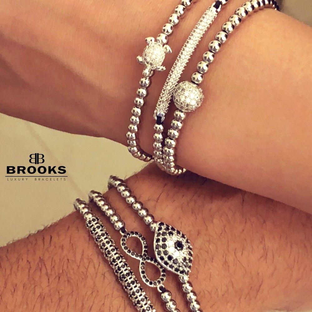 Brooks Luxury Set Silver Infinit Bracelets