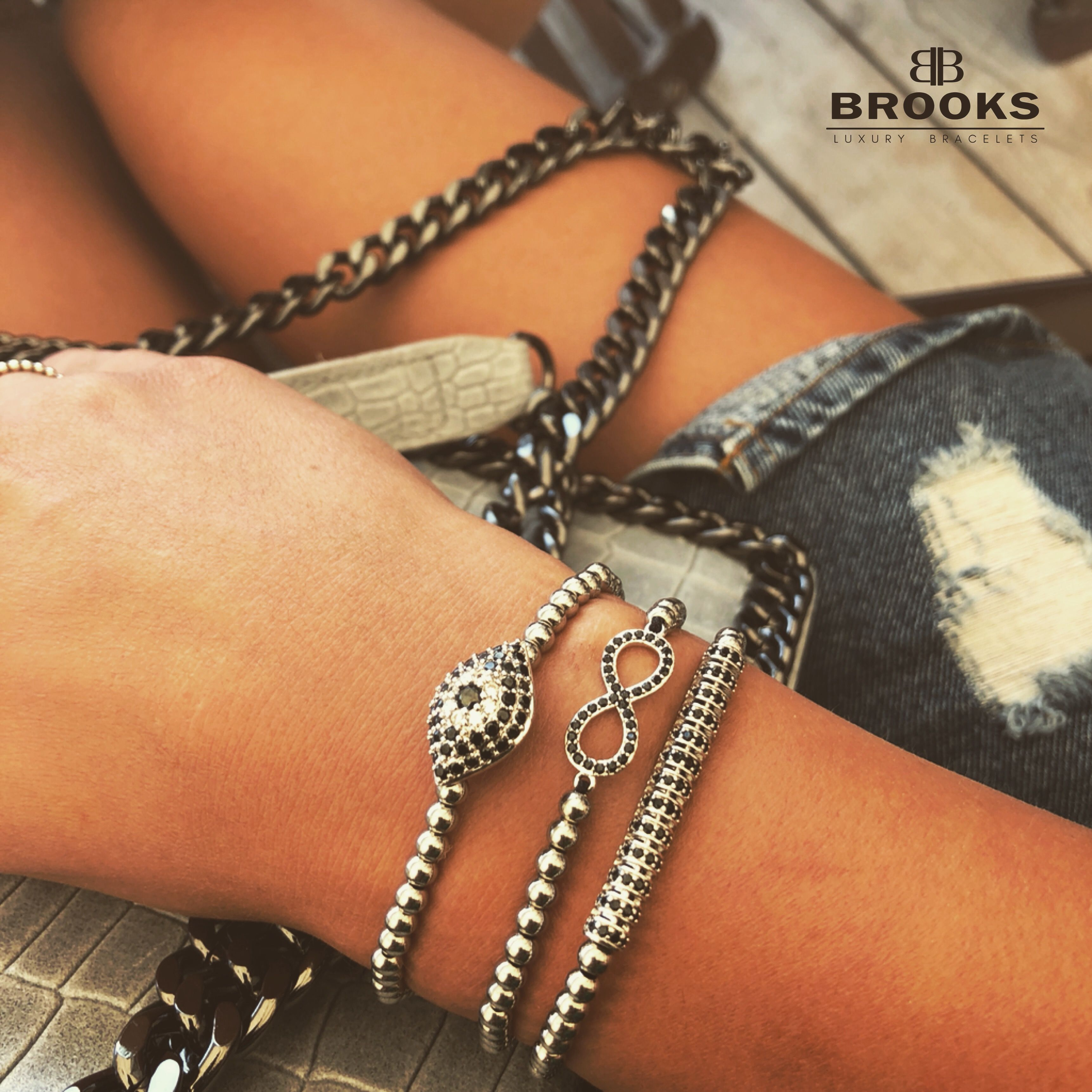 Brooks Luxury Set Silver Infinity Bracelets