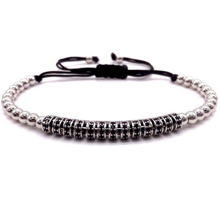 Brooks Silver Men Zircon Bracelet