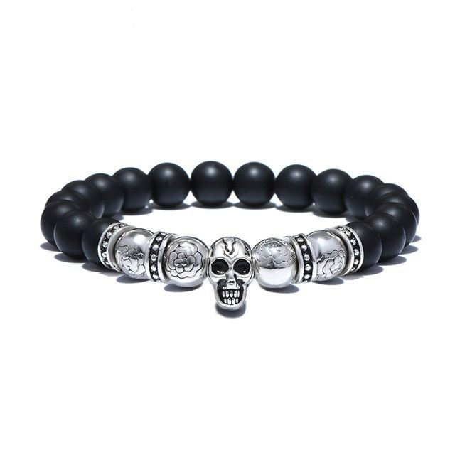Brooks Silver Skull Black Agate