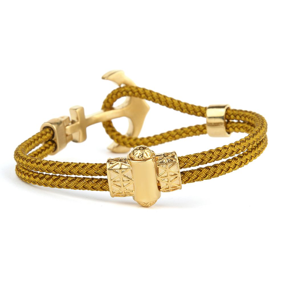 Gold Anchor Wire Zircon Men Bracelet 22 CM