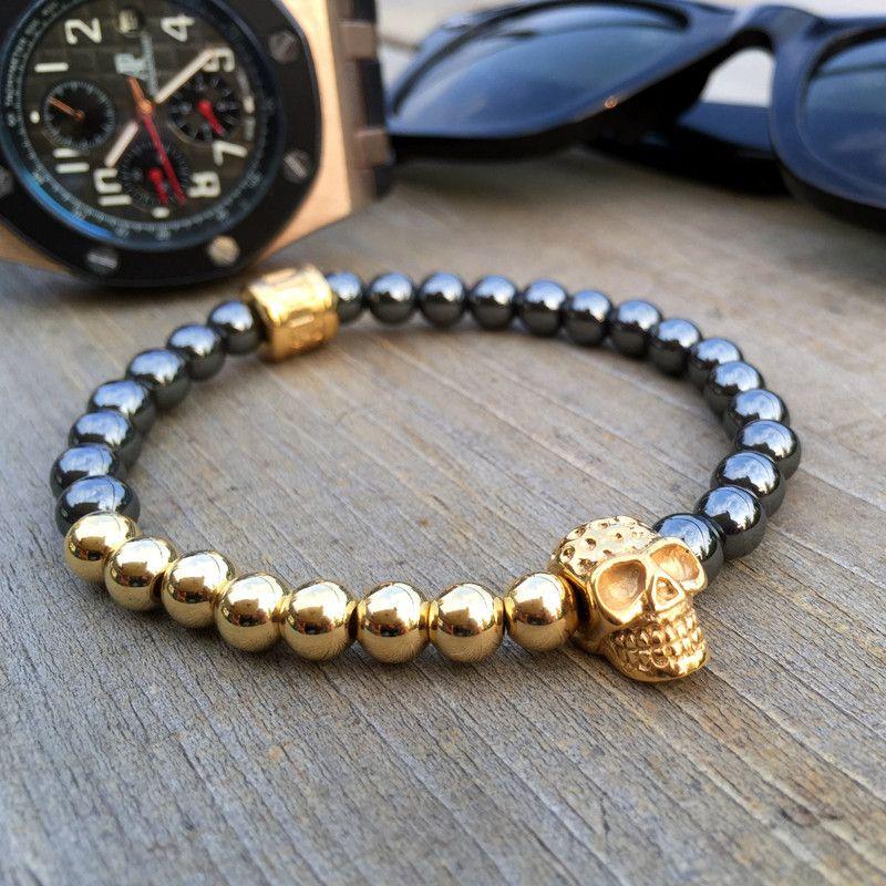 Gold Skull Stone Bracelet