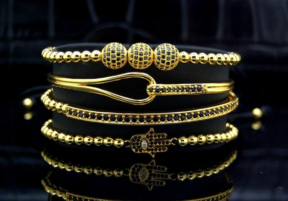 Luxury Set 4 Brooks Gold 14K Bracelets Lady