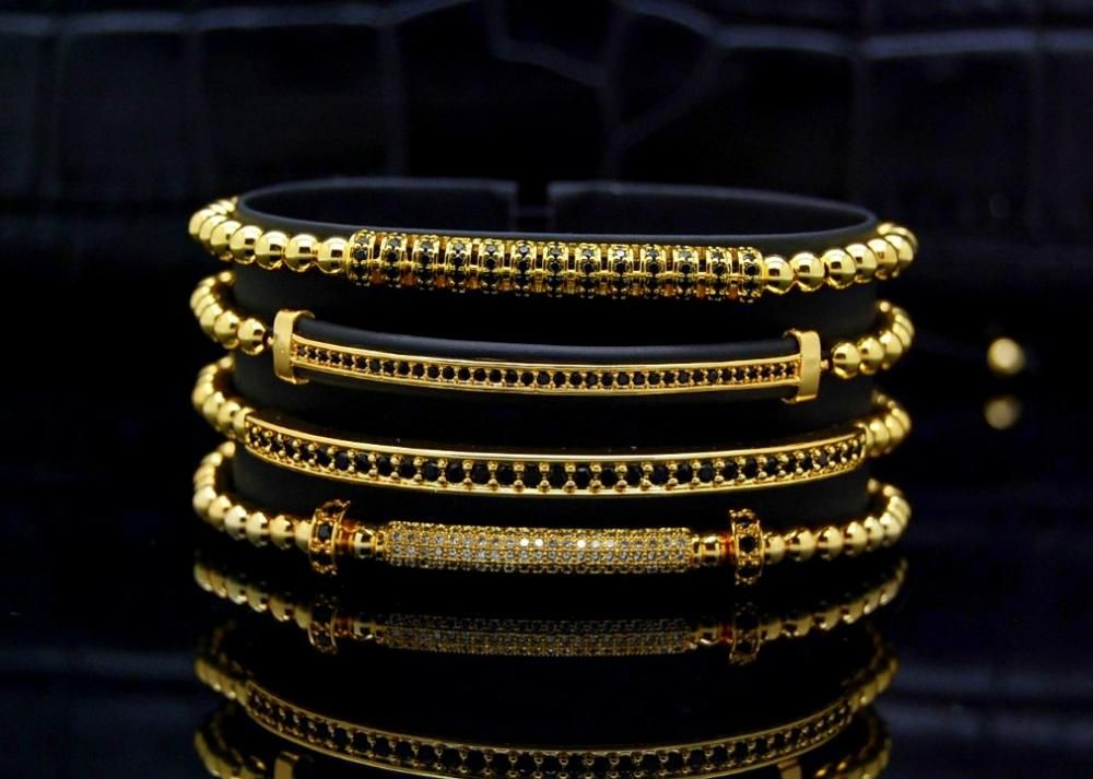 Brooks Luxury Set 4 Gold 14K Woman Bracelets