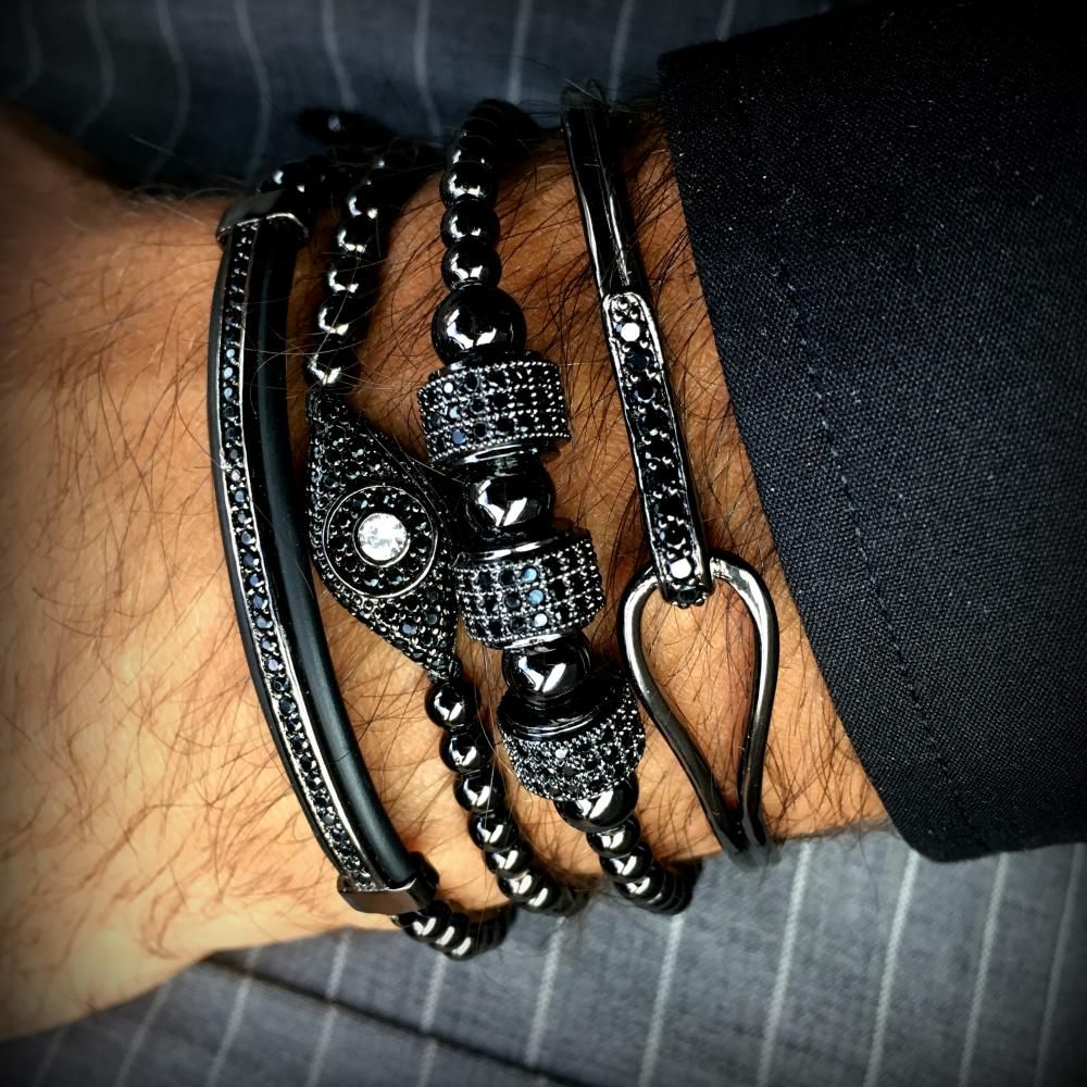 Royal All Black Set 4 Brooks Bracelets