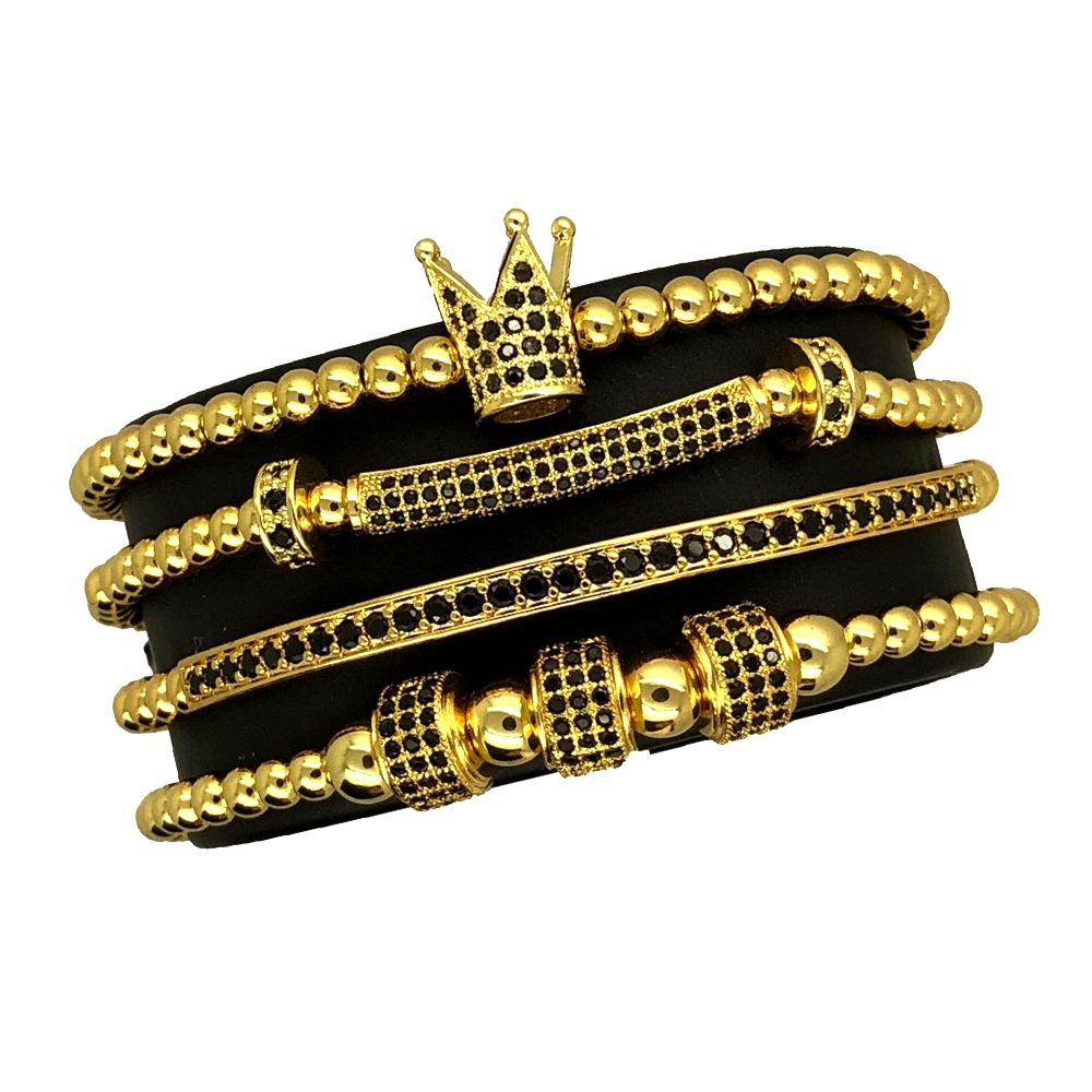 Luxury Set Gold Crown 4 Brooks Bracelets