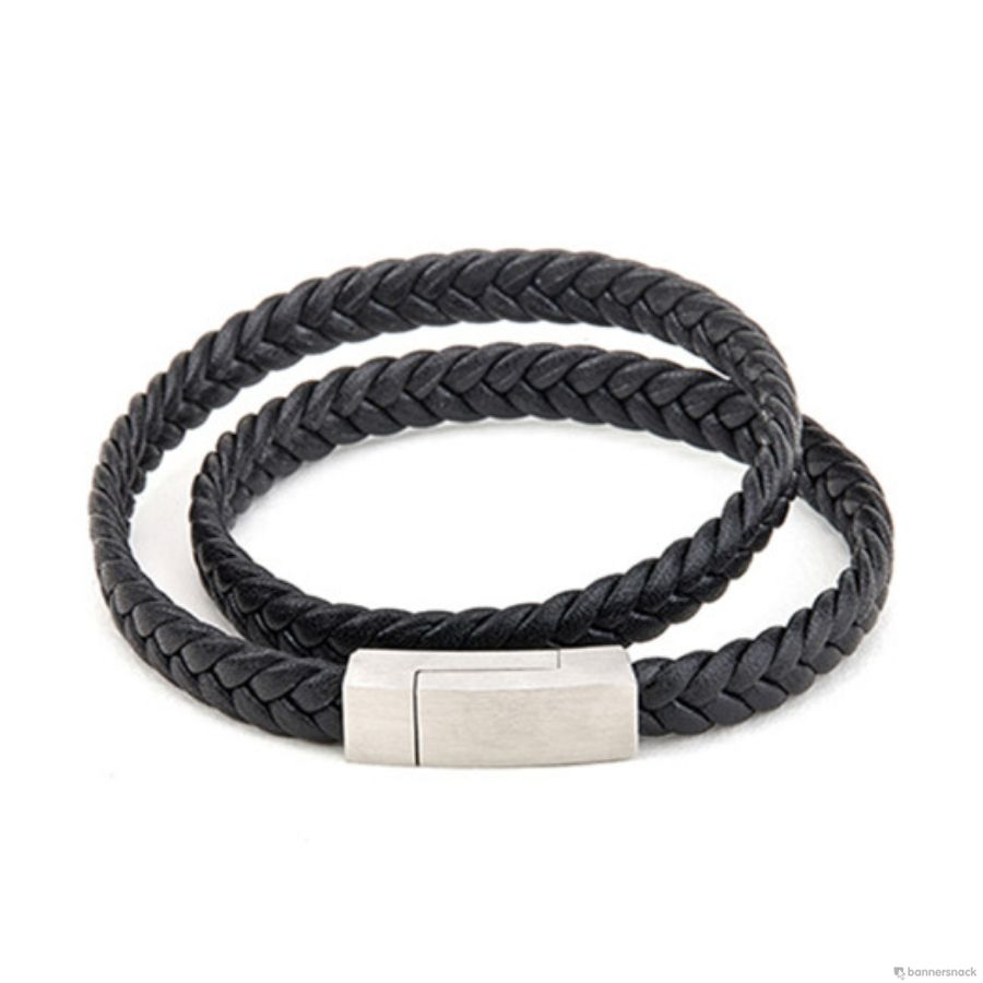 Brooks Double Strap Black Bracelet 20 CM