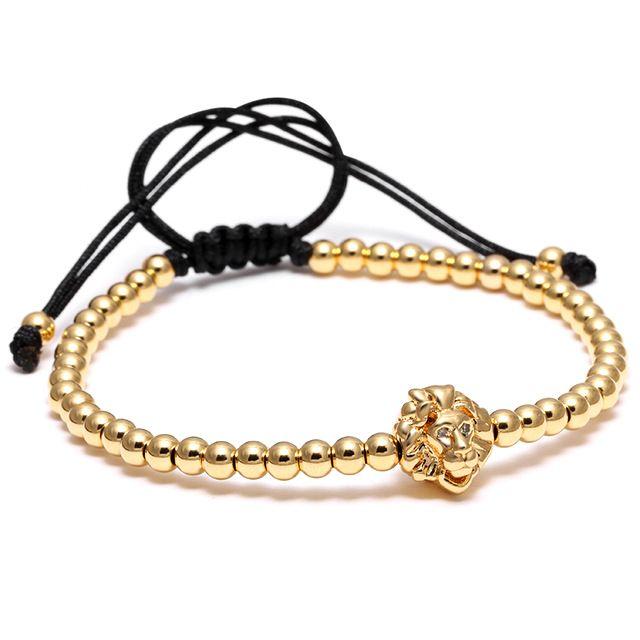 Macrame Head Lion Gold Bracelet