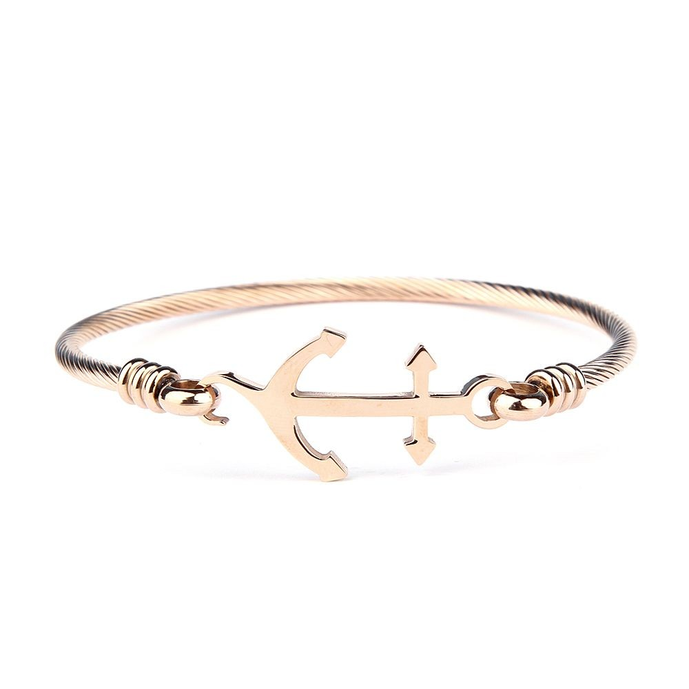 Men Rose Gold Anchor Bracelet
