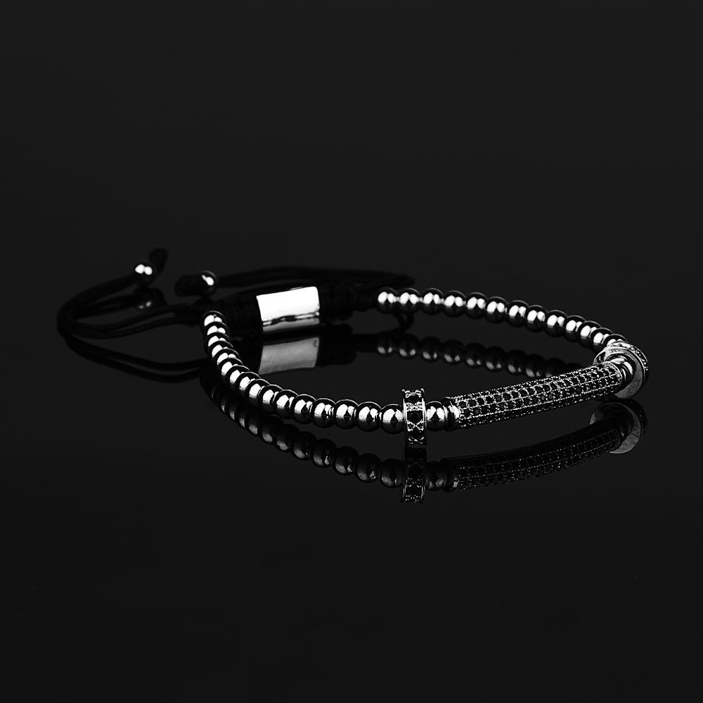 Silver Luxury Men Zircon Bracelet