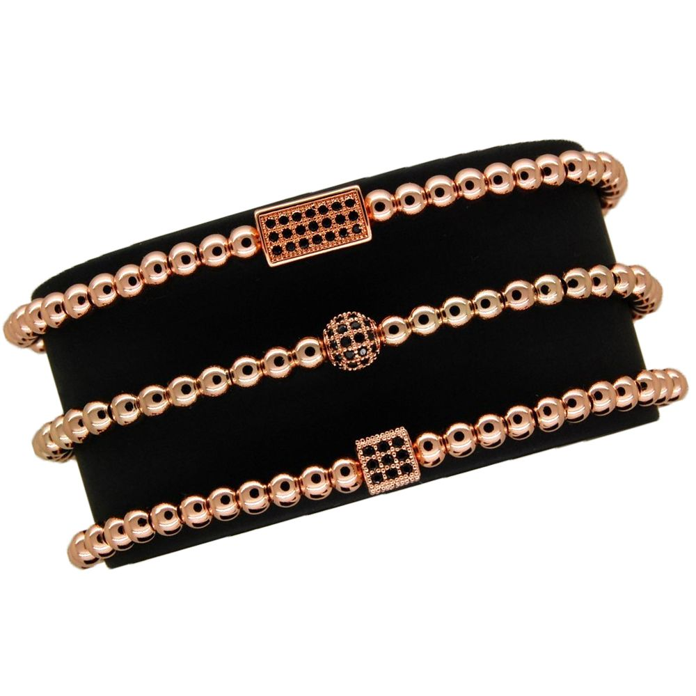 Luxury Set 3 Brooks Rose Gold Bracelets