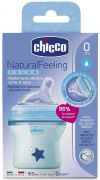 Biberon Chicco Natural Feeling, plastic, albastru, 150ml, t.s. inclinata, 0luni+, flux normal, 0%BPA