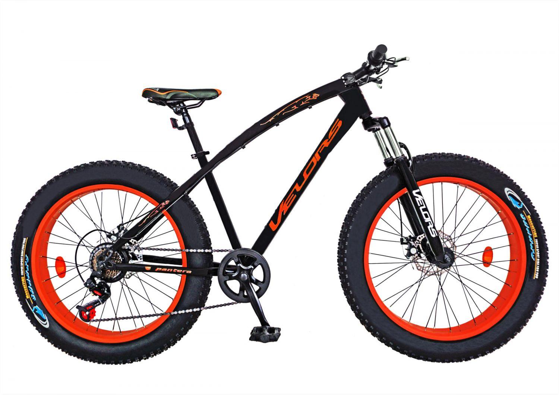 Bicicleta Fat Bike VELORS, V2600A, cadru otel, culoare negru / portocaliu