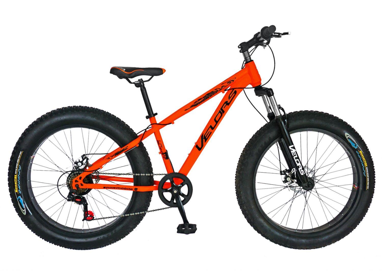 Bicicleta Fat Bike VELORS, V2677A, cadru otel, culoare portocaliu / negru