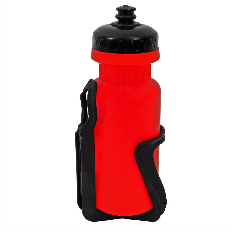 Bidonas apa 400 ml cu suport plastic, culoare rosu / negru cod190002