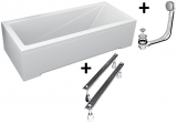 Pachet Complet - Cada Baie Acril Besco Modern 160x70 + Cadru Metalic + Masca Frontala + Masca Laterala + Sifon Evacuare