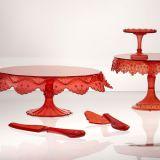 Paleta servire tort, desert - plastic rosu