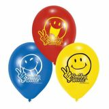 Set 6 baloane latex Smiley Comic 22,8 cm