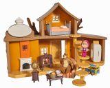 Casuta mare a ursului are 2 etaje, incude figurinele Masha si ursul