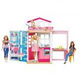 Casuta pentru papusi Barbie cu doua etaje complet mobilata
