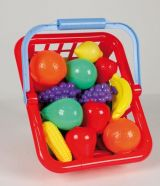 Cos din plastic cu legume si fructe