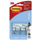 Carlig cu tija metalica mic 3 carlige/ pachet + 4 benzi dublu adezive/ pachet Command 3M
