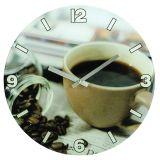 Ceas de perete Coffee, sticla, 30 x 3 cm