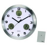 Ceas de perete cu statie meteo AG-300, rama aluminu, 30 x 4 cm
