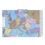 Harta 100x140cm fizico-rutiera a Europei