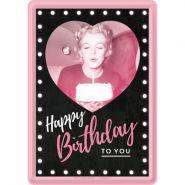 Carte postala metalica 10x14 Marilyn Monroe Happy Birthday