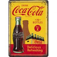 Carte postala metalica Coca-Cola - In Bottles Yellow