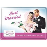 Carte postala metalica Just Married