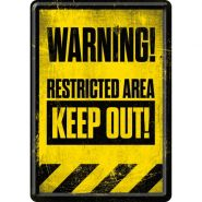 Carte postala metalica Warning! Restricted Area