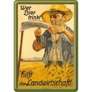 Carte postala metalica Wer Bier trinkt hilft der Landwirtschaft