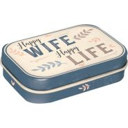 Cutie metalica de buzunar Happy Wife Happy Life