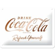 Placa 15x20 Coca-Cola - Logo White Refresh Yourself