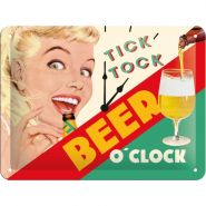 Placa metalica 15X20 Beer O'Clock Lady