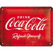 Placa metalica 15X20 Coca-Cola - Red Refresh yourself
