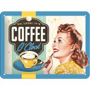 Placa metalica 15X20 Coffee O'Clock