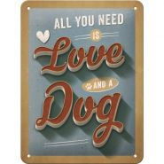 Placa metalica 15x20 Love Dog
