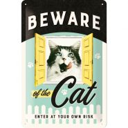 Placa metalica 20x30 Beware of the Cat