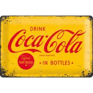 Placa metalica 20X30 Coca-Cola - Logo Yellow