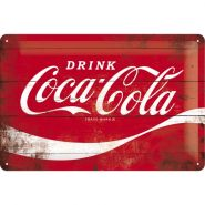 Placa metalica 20X30 Coca-Cola-Logo Red
